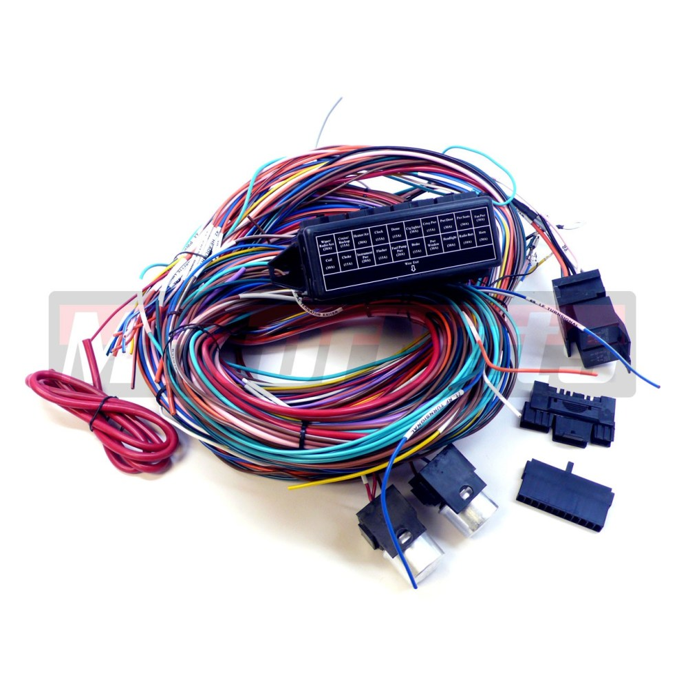 medium resolution of complete universal 12v 20 circuit 20 fuse wiring harness wire kit hot rod rat v8