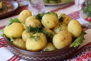 A pot with potatoes