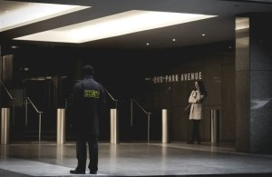 Security officer in a lobby.