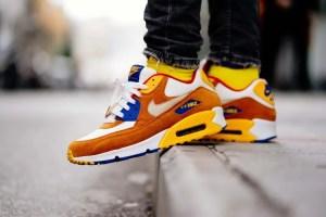 Orange sneakers.