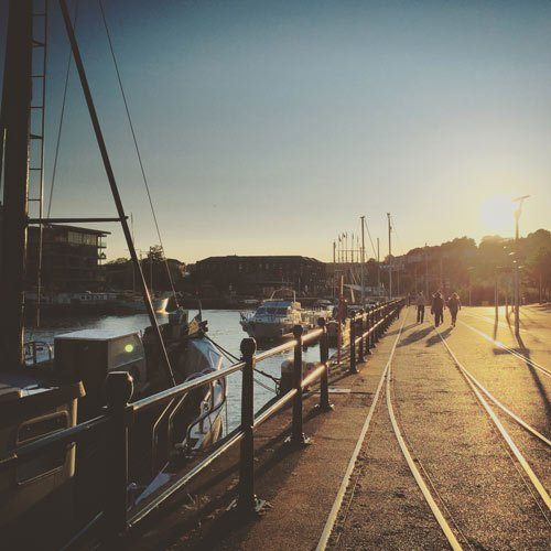 bristol harbourside at sunset