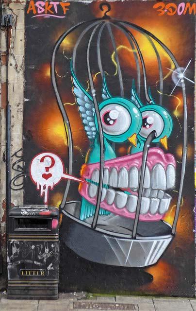 stokes croft teeth graffiti