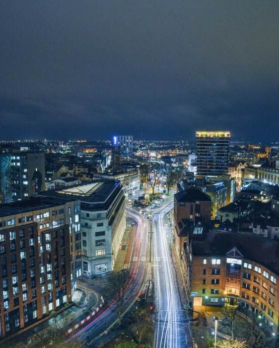 bristol from above at night