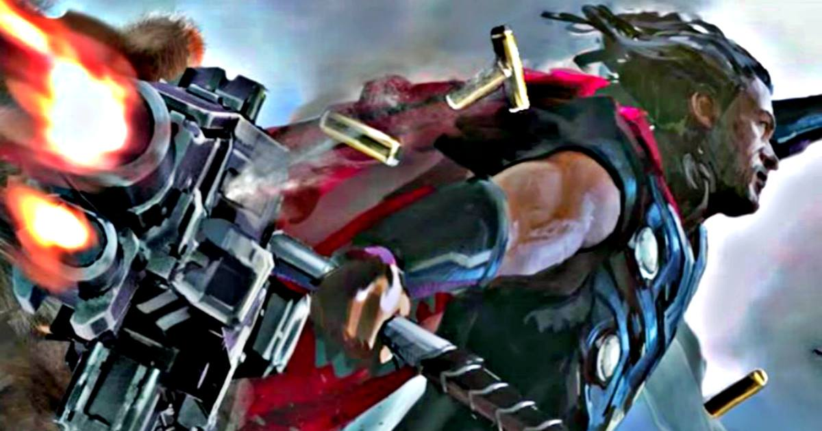 first image of thor s new axe hammer in avengers infinity war leaked