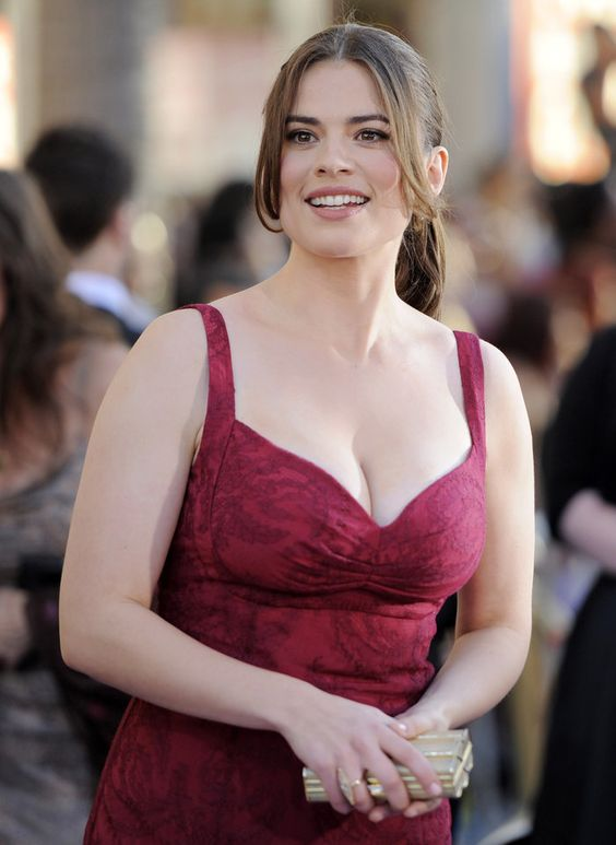 Hayley Atwell hot in red