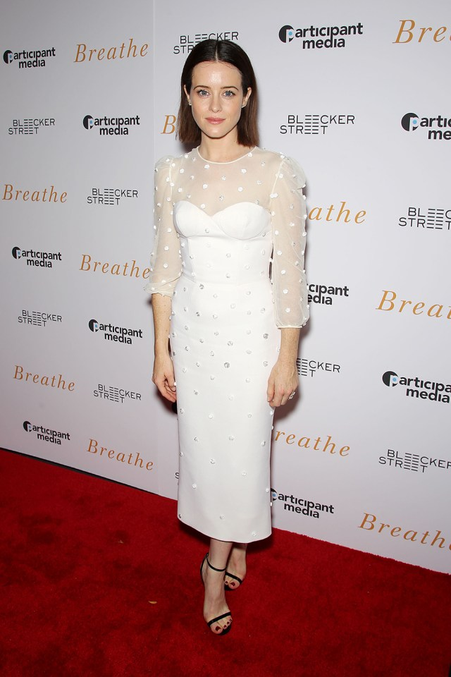 Claire Foy on White Dress