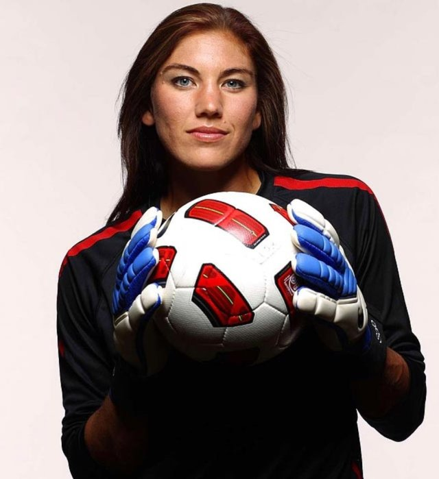 Hope Solo playing with Soccer