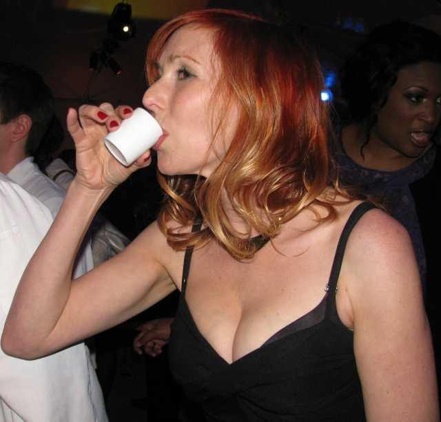 Kari Byron taking Coffee