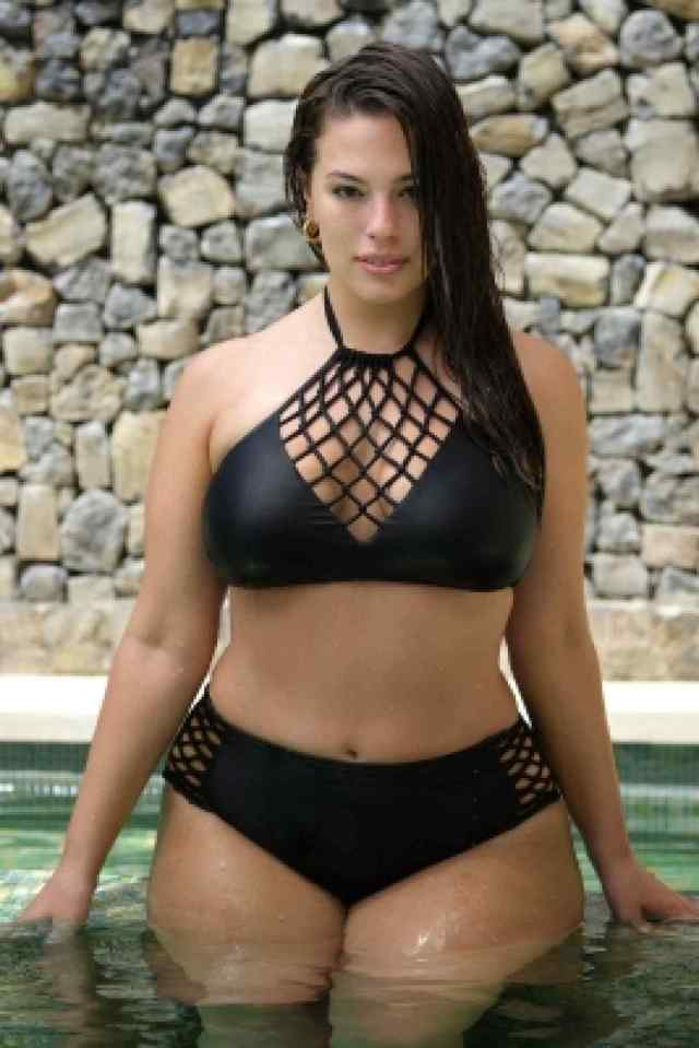 Ashley Graham Hot in Black Bikini