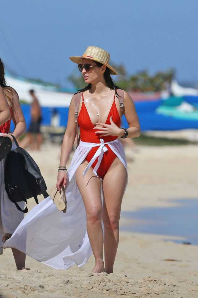 olivia-munn-in-a-red-swimsuit-