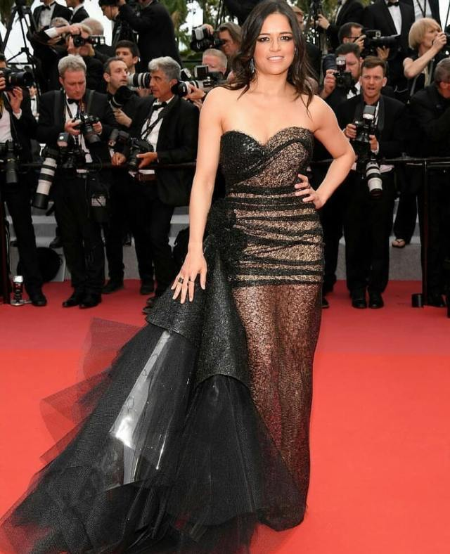 Michelle-Rodriguez black dress