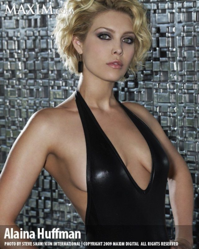 Alaina Huffman Hot in Black Dress