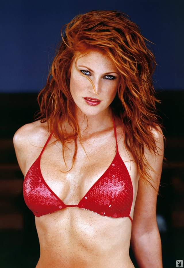 Angie Everhart hot red bra