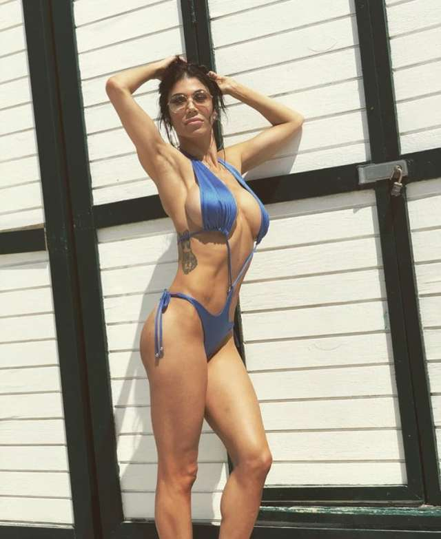 Rosa Mendes Sexy Boobs Pictures in Blue Bikini