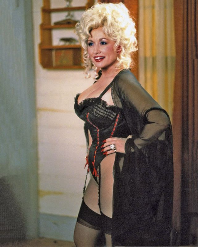 Dolly Parton Sexy Boobs Pictures on Black Lingerie