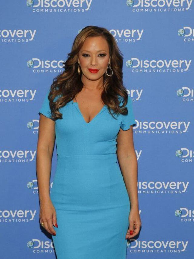 Leah Remini blue sexy dress