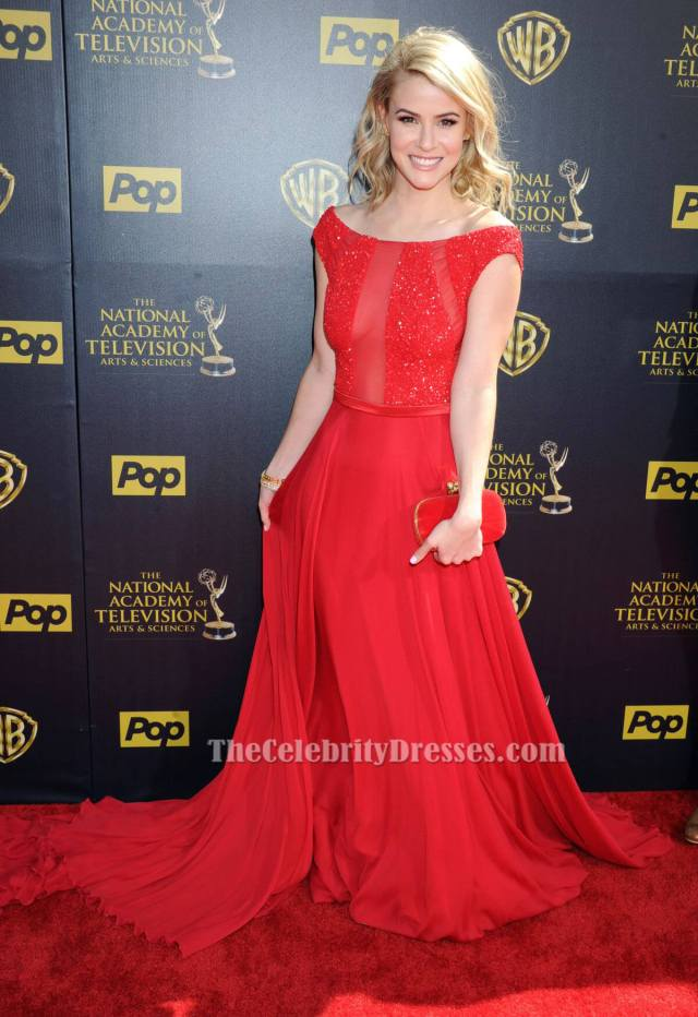 Linsey Godfrey sexy long red dress