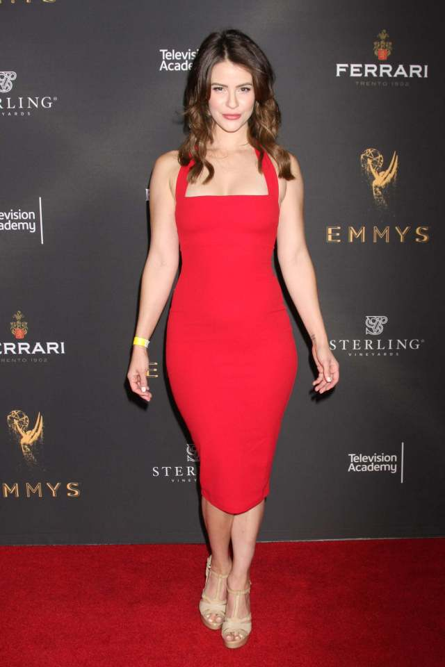Linsey Godfrey sexy red dress pic