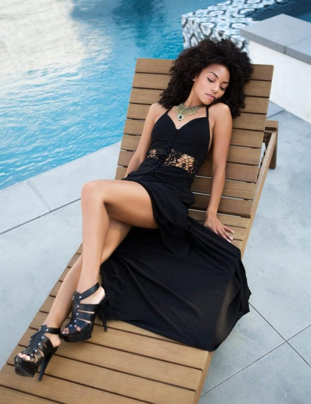 Logan-Browning-legs sexy dress