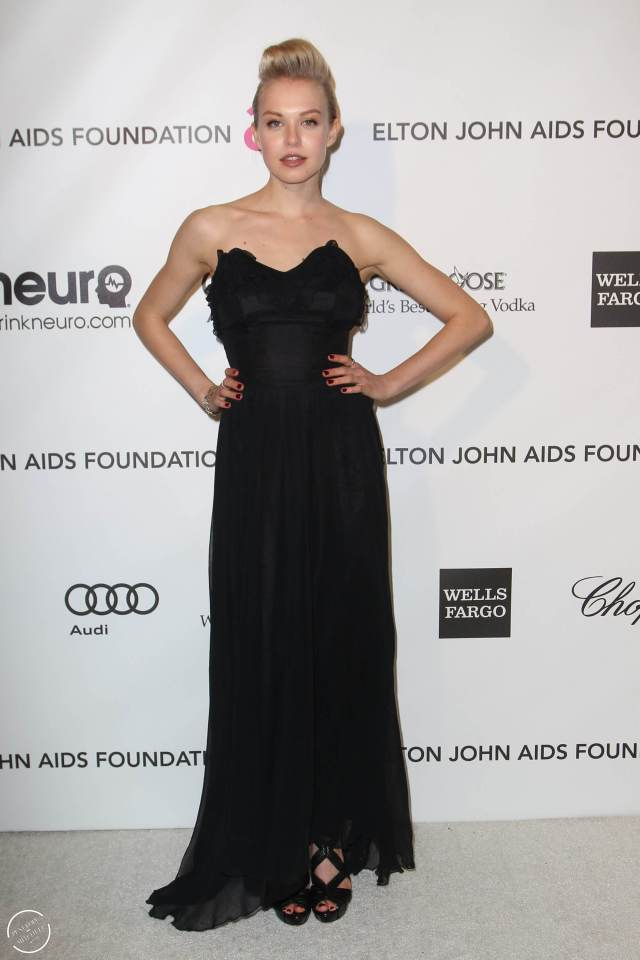 Penelope Mitchell long black dress