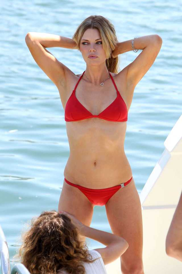 Sophie Monk Sexy Boobs Pictures on Red Bikini