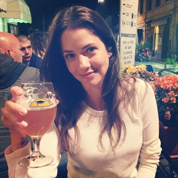 julie gonzalo with drink