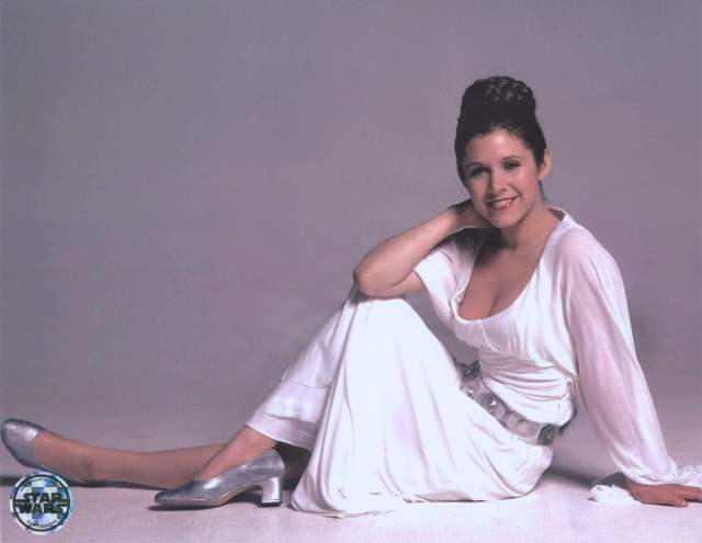 Carrie Fisher LONG WHITE DRESS PIC