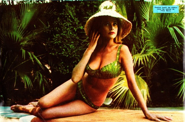 Honor Blackman Hot in Green Lingerie