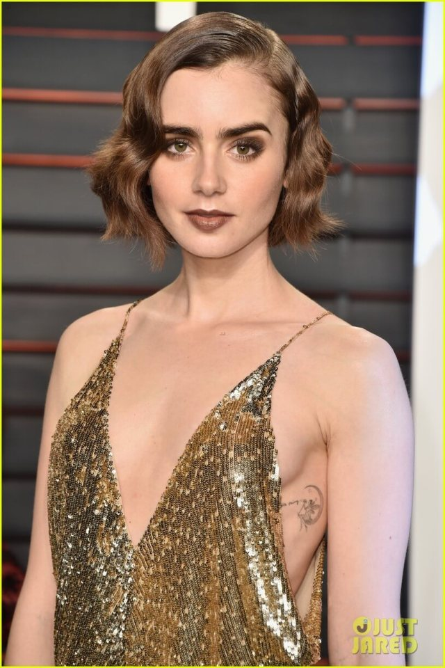 Lily Collins cleavage photos
