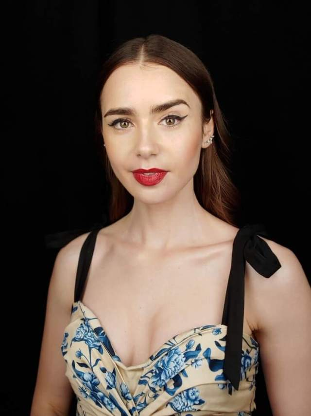 Lily Collins cleavage pic