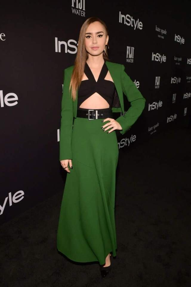Lily Collins sexy green dress pic