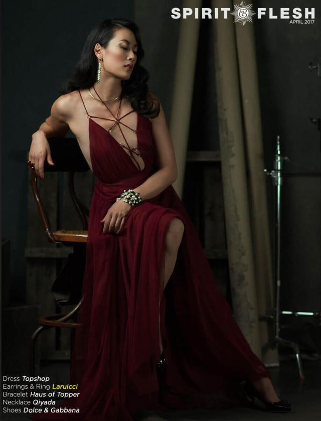 OLIVIA CHENG sexy red dress pic
