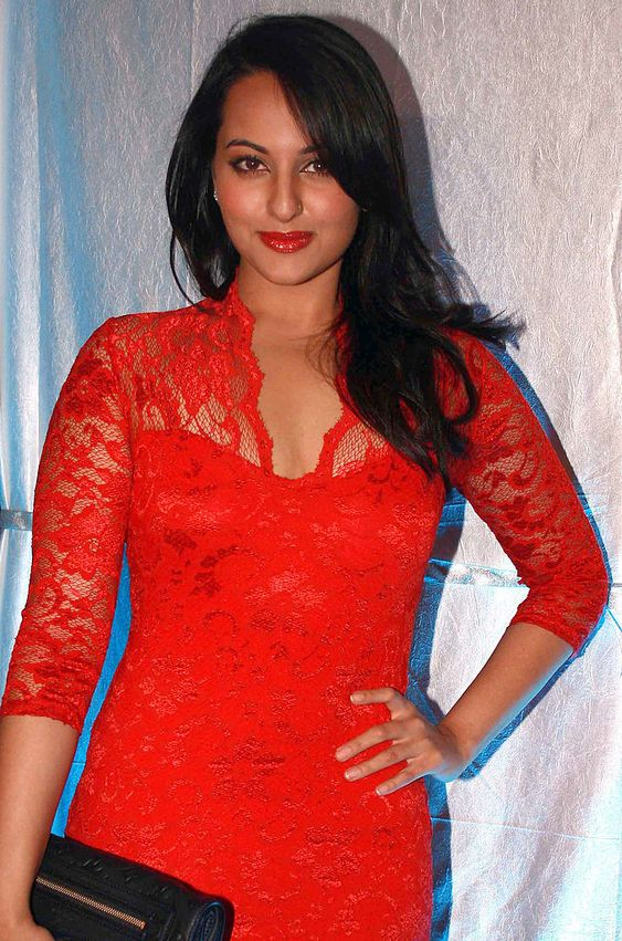 Sonakshi Sinha Hot in Red Dress
