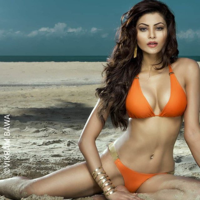 Urvashi Rautela Sexy Big Boobs Pics on Orange Bikini