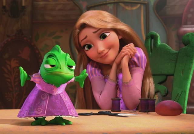 rapunzel with her frog