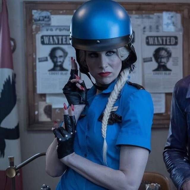 Lucy Punch blue dress pic