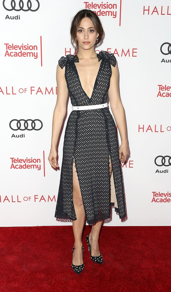 Emmy Rossum red carpet with sexy boobs