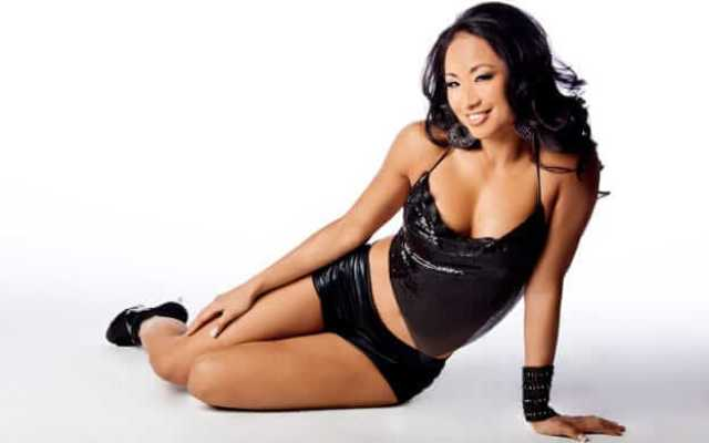 Gail Kim sexy black dress