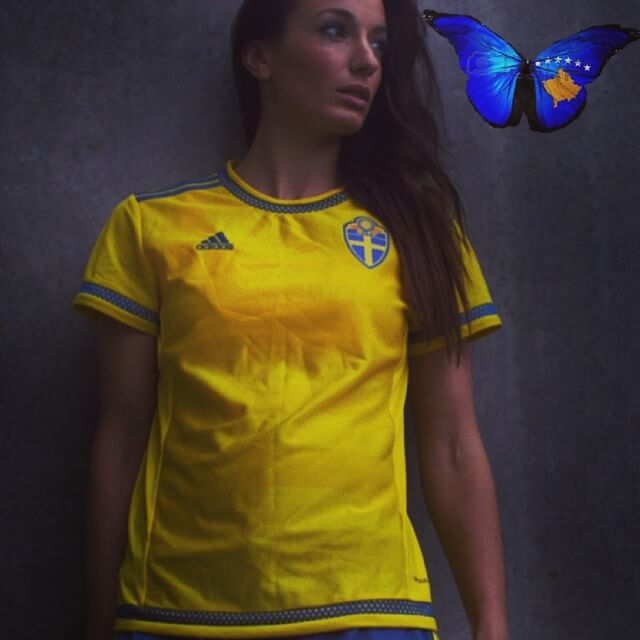 KOSOVARE ASLLANI sexy yellow dress