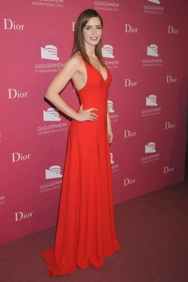 emily blunt long red dress