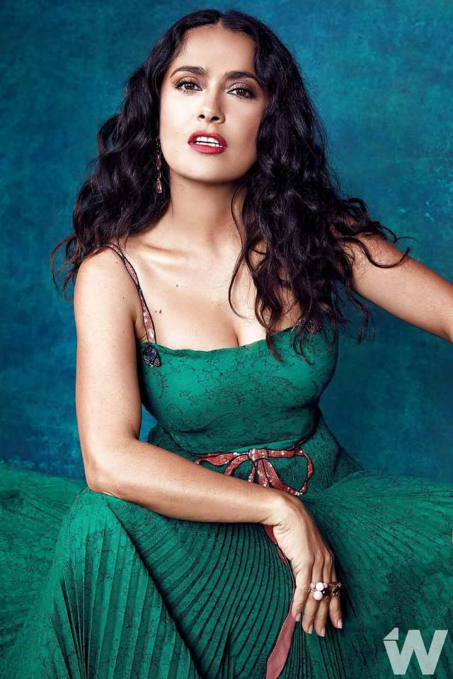 salma hayek sexy green dress