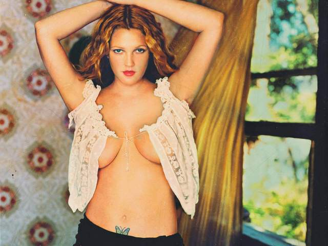 drew barrymore sexy cleavage