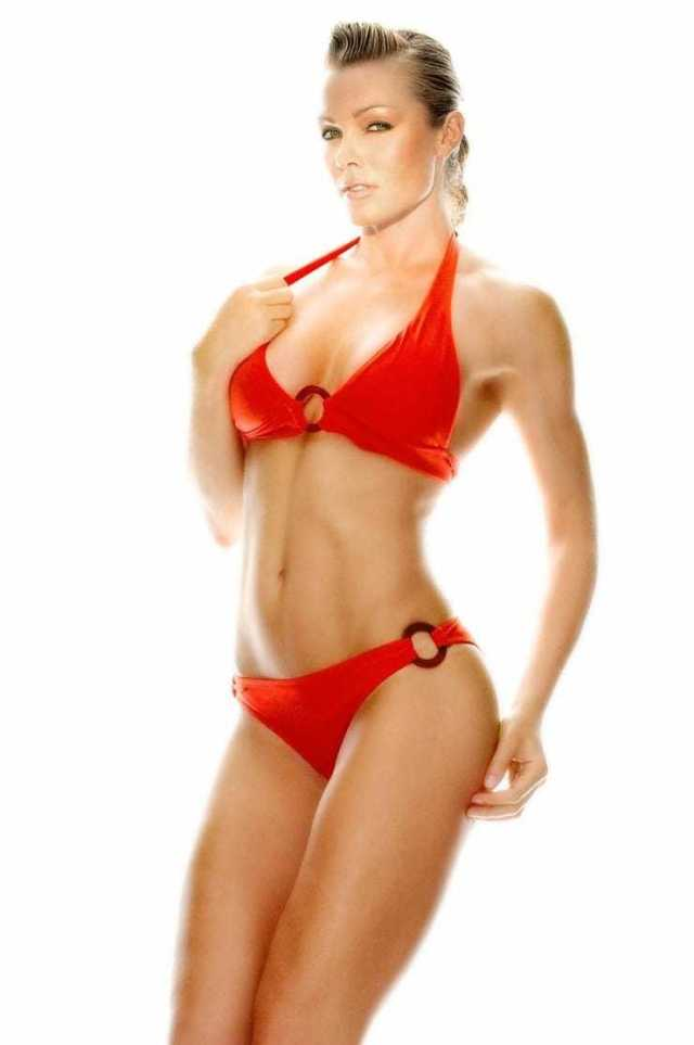 Nell McAndrew hot red bikini pictures