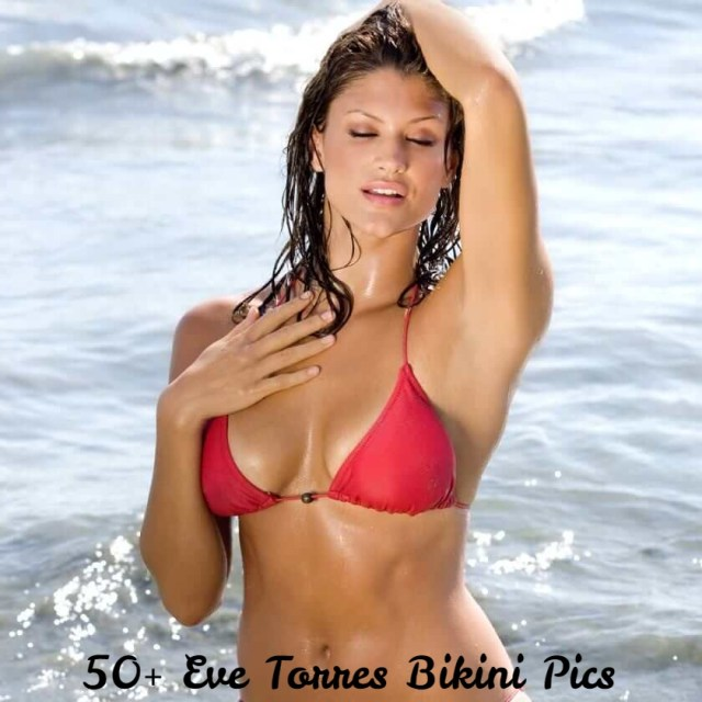 Eve-Torres-Sexy-Boobs-Pictures-in-Red-Bikini
