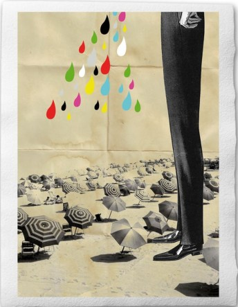 This is what happened at the beach II-Collage Illustration Print Handmade Watercolor Paper 8x12, Giant Man Umbrella Raindrops Suite