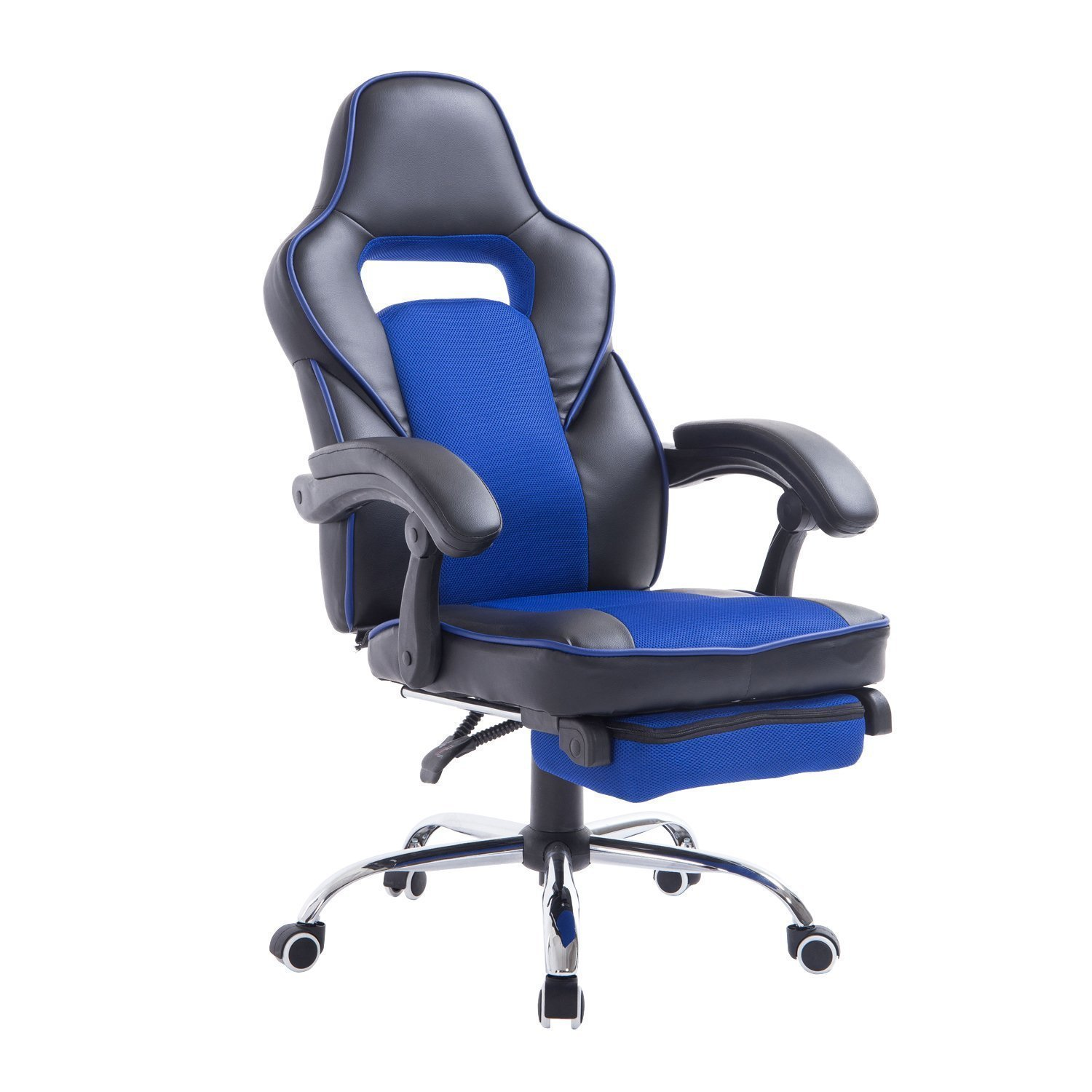 office chair high seat best chairs inc power lift recliner parts top 10 reclining reviewed updated guide for 2018 homcom race car style back pu leather with footrest blue and