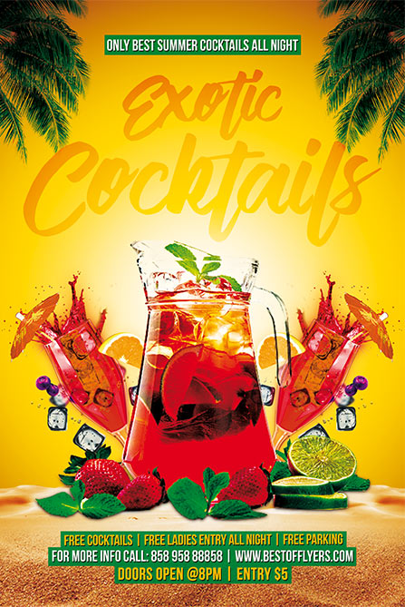 Exotic Cocktails Free Poster Template Free Summer Cocktail Party Flyer