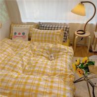 Cute Yellow Plaid Bedding Set bedroom inspiration ideas and decor ideas   soyvirgo.com
