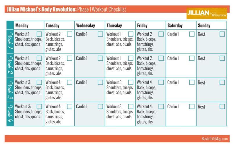 Jillian Michaels Body Revolution Printable Workout Checklist Phase 1 Workouts