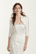 This three-quarter sleeve satin jacket by David's Bridal comes in ivory or white. (Style 3/4SLVSTN)